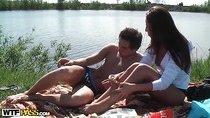 Amateur couple is on picnic