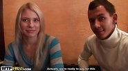 Blonde girl sex adventure in a cafe
