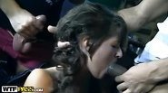 Titted young girl fuck hard in the mouth in the parking