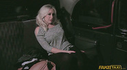 Busty amateur flashes tits in taxi for a free ride and she gets fucked