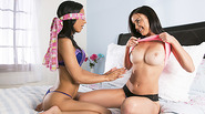 Hot teen lesbians banging with dildo