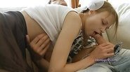 Beata swallowing cum on the couch