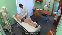 Busty blonde gets fucked by the doctor
