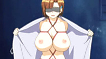 Tied hentai blindfold dildoing her wetpussy