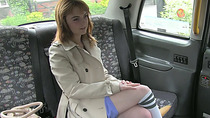 Cute red haired amateur gets laid in the taxi and receives cumshot