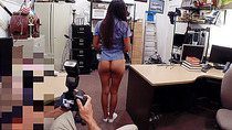 Sexy nurse sells her smelly panties for a lot of cash at an xxx pawn shop
