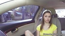 Cute teen London get a ride and fucked