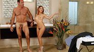 Liv Aguilera gives step dad a massage