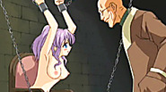 Chained hentai cutie gets vibrator by bald guy
