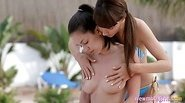 Two teen Elly and Jackie O massage body