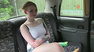 Hot lesbian gets fucked inside the taxi and gets a load of cum