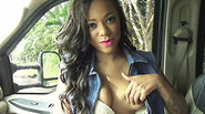 Hot ebony Diamond gets a free hot ride and gets fucked outdoors by the stranger