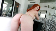 Hot and beautiful Rainia Belle sucks dick and gets fucked from behind