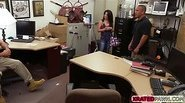 Brunette sexy Cuban gets her very tight pussy fucked inside the office of the shop