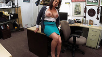 Busty MILF negotiates with her boobs and pussy to earn cash