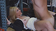 Sexy blonde milf fucked by pawn keeper in storage room