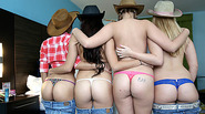 Horny hot Girls in a Cowboy Party action with the hot cowboy they met in the party