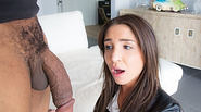 Beautiful teen Giselle Leon slurps a black thick cock and receives facial