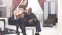 Tight ass of Mischa gapes as she gets rammed by a massive black cock