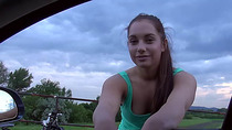 Busty  teen Jenny Dark gets Fucked on a highway by the guy who helped her on her find a place