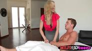 Blonde hottie teams up with stepmom to please her boyfriend