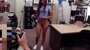 Brunette Nurse gets big cash for sex inside of the pawn shop office