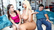 Topless MILF Bridgette B sparks threesome with teen couple