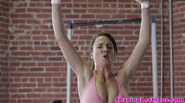 Fit lesbian sportswomen after training