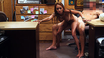 Crazy chick with black mails pawnshop owner at his pawnshop