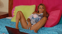 Guillana gets busted by her friend naked in her room and is horny