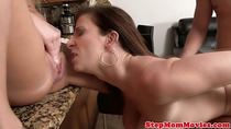Stepmommy gets to ride cock and share it with offspring