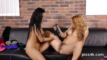 Lovable kitten is geeting peed on and squirts wet vulva