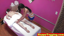 Real jap masseuse tugging customers dick