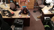 Lovely Brunette Wife gets pawned inside her pussy in the pawn shop office