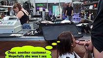 Sexy latina stewardess sucks cock in public pawn shop